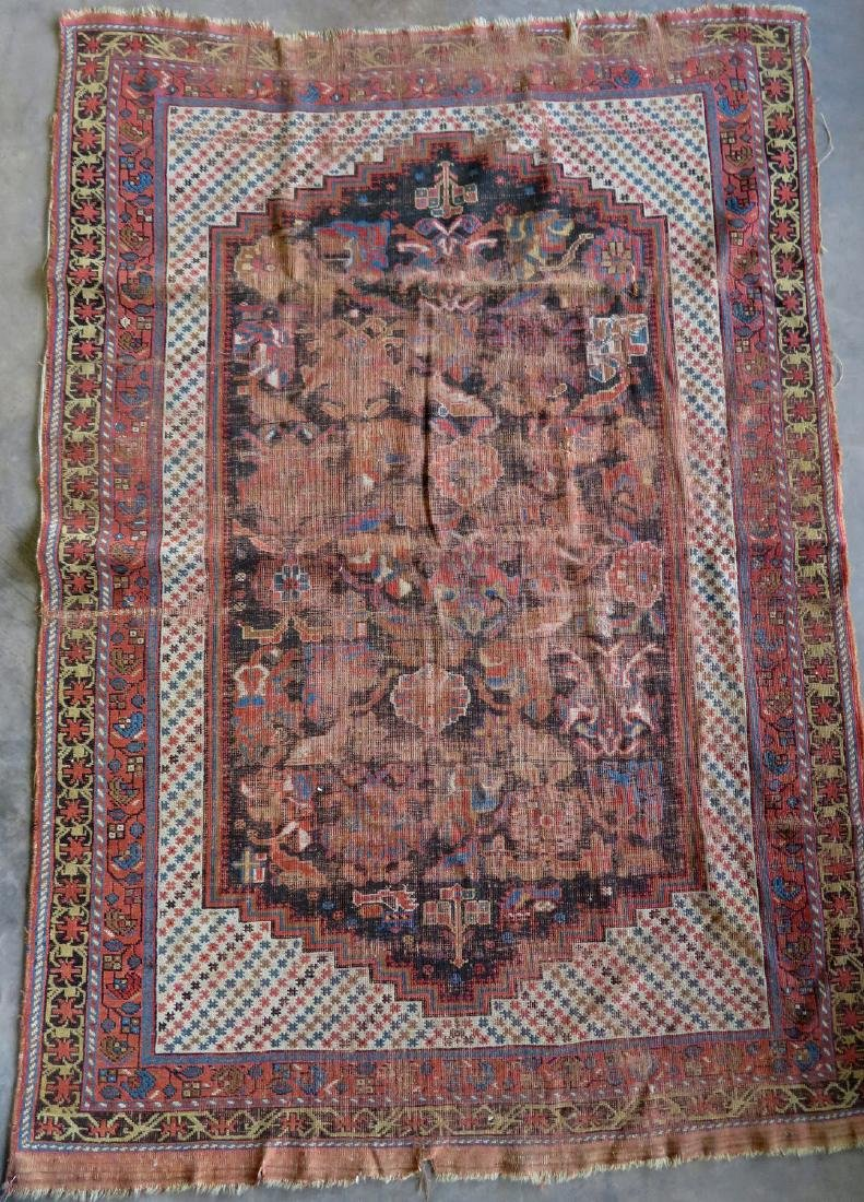 Two worn 19th century oriental scatter rugs with some