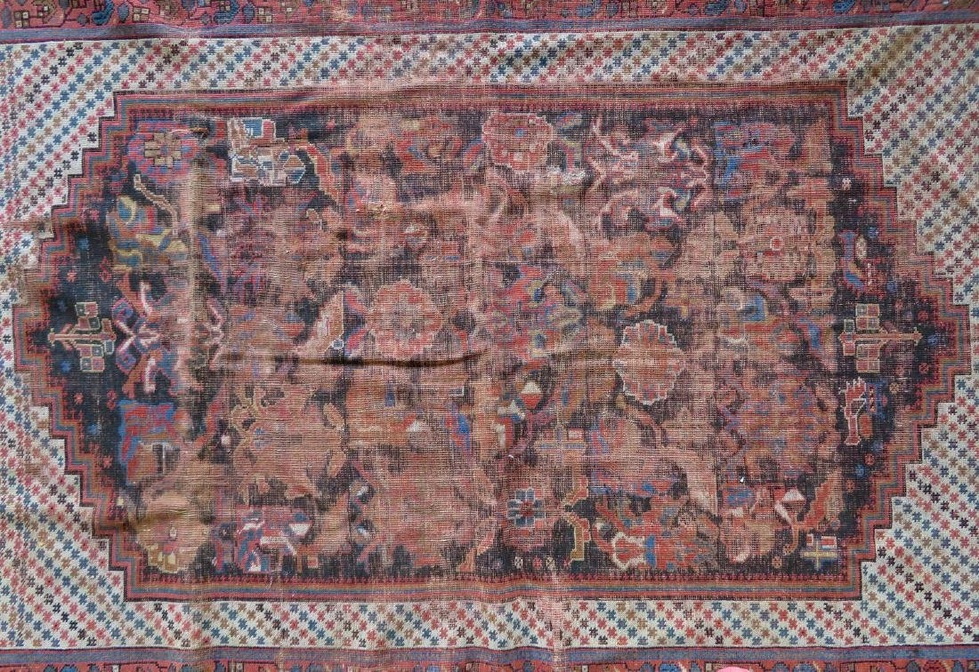 Two worn 19th century oriental scatter rugs with some - 2