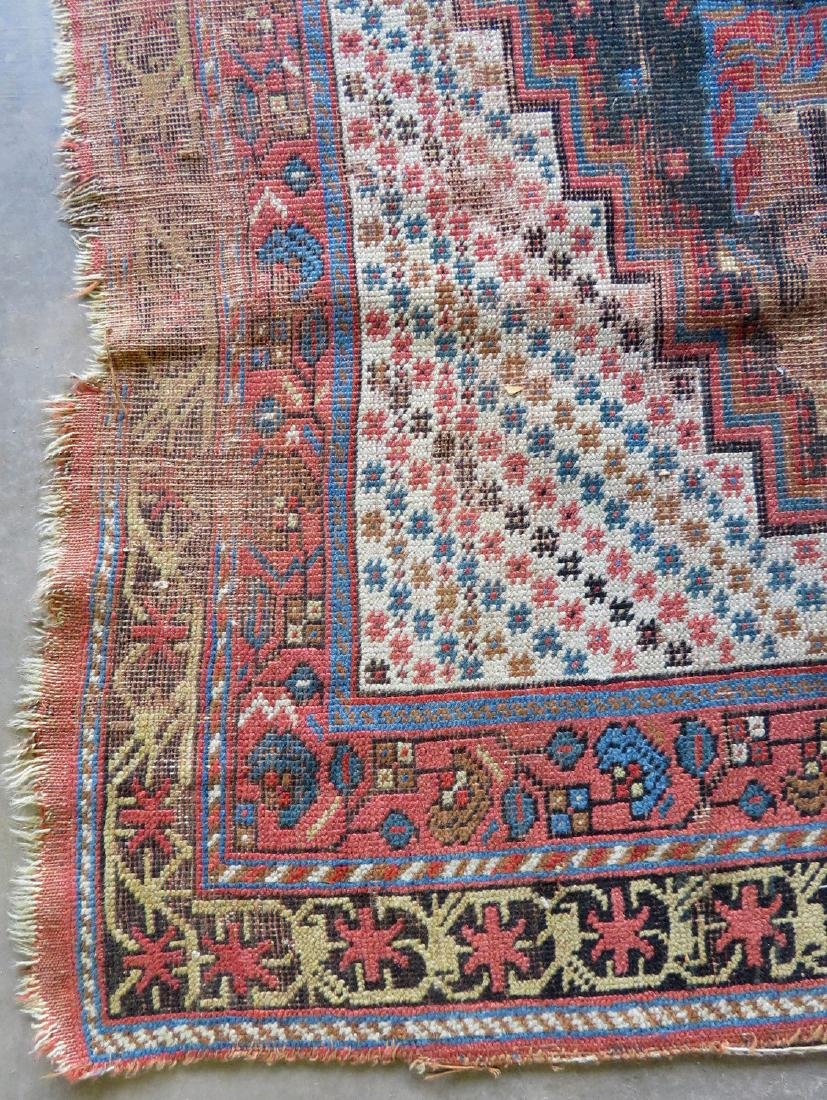Two worn 19th century oriental scatter rugs with some - 3