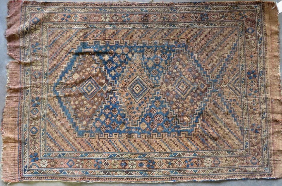 Two worn 19th century oriental scatter rugs with some - 5