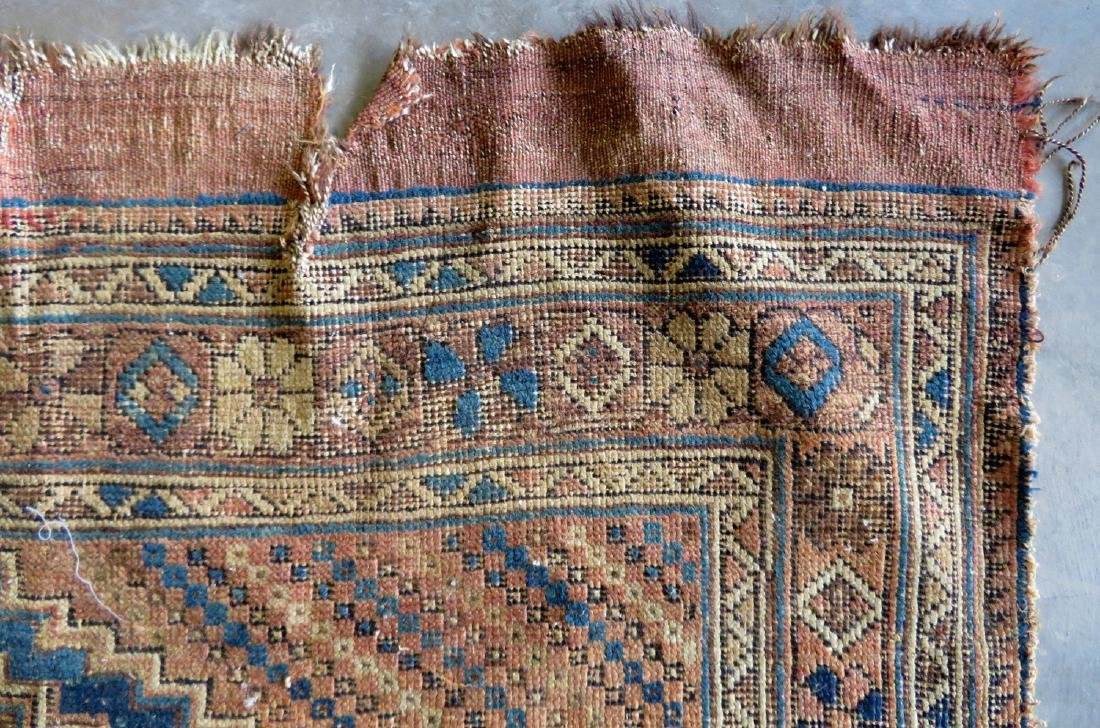 Two worn 19th century oriental scatter rugs with some - 6