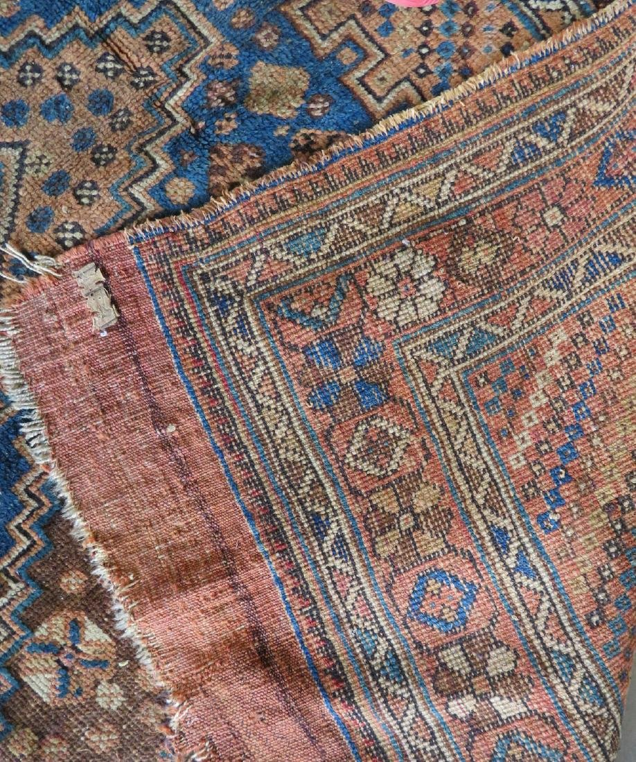 Two worn 19th century oriental scatter rugs with some - 8