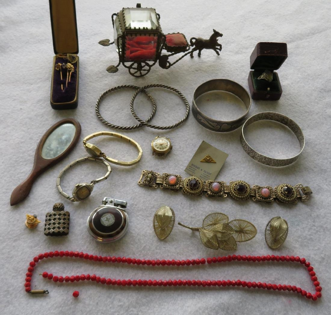 Grouping of lady's decorative objects including: A
