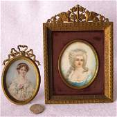 Two miniature hand painted portraits of ladies in