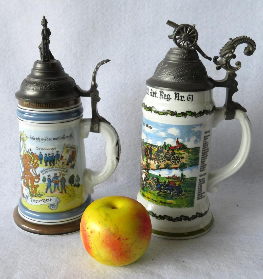 Two German regimental porcelain lithopane steins with