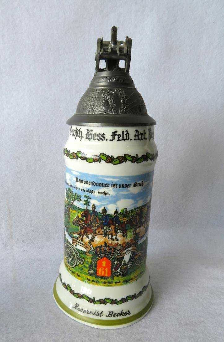 Two German regimental porcelain lithopane steins with - 5