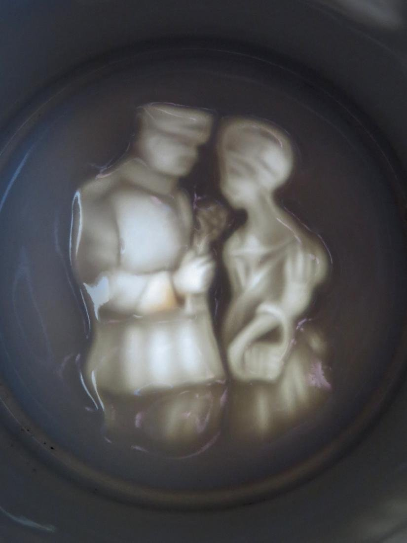 Two German regimental porcelain lithopane steins with - 7