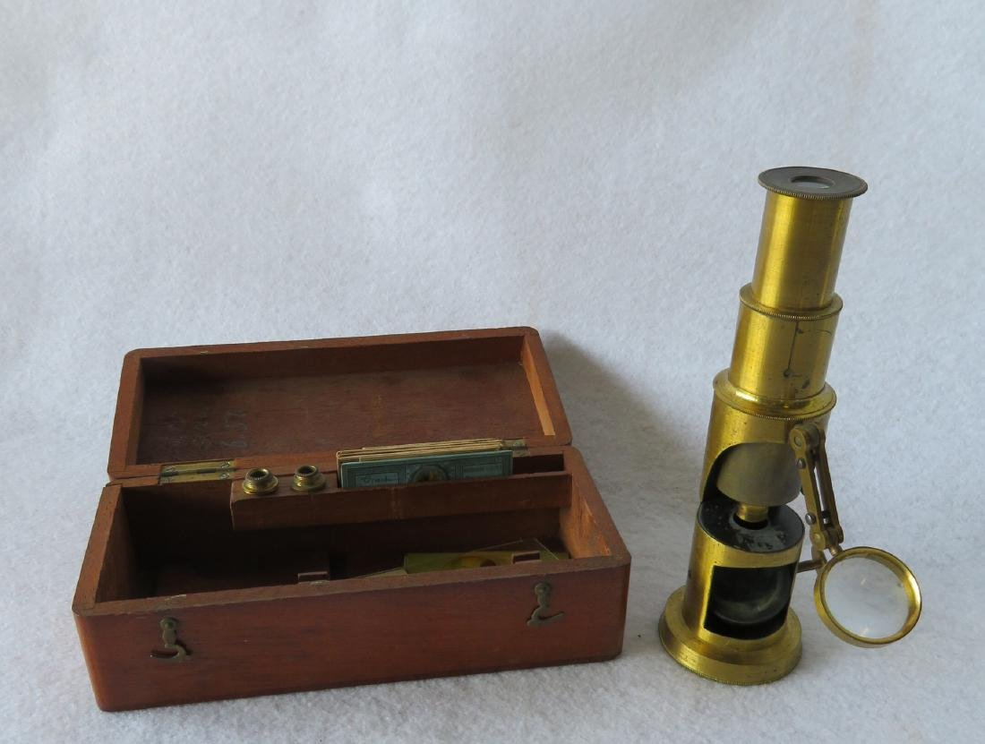 Small French 19th century brass traveler's microscope