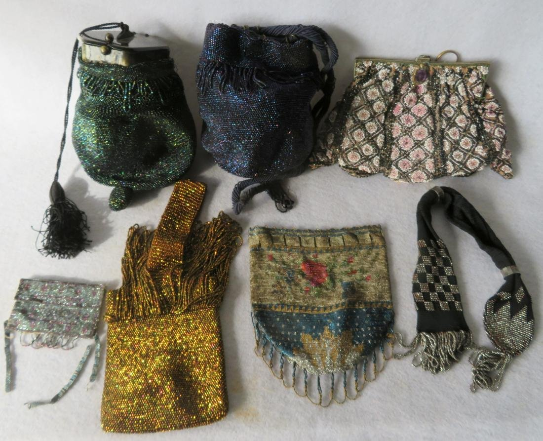 Grouping of 7 mostly Art Deco era beaded purses and