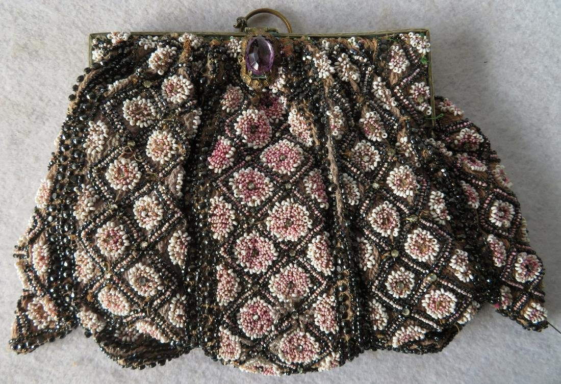 Grouping of 7 mostly Art Deco era beaded purses and - 4