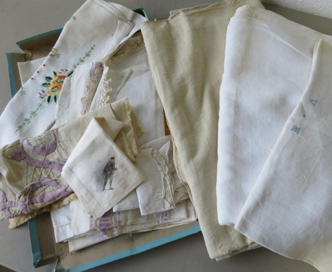 Grouping of old linens including 2 homespun sheets, 2