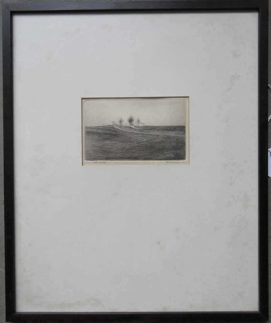 Etching of an isolated farm with several trees, pencil - 2