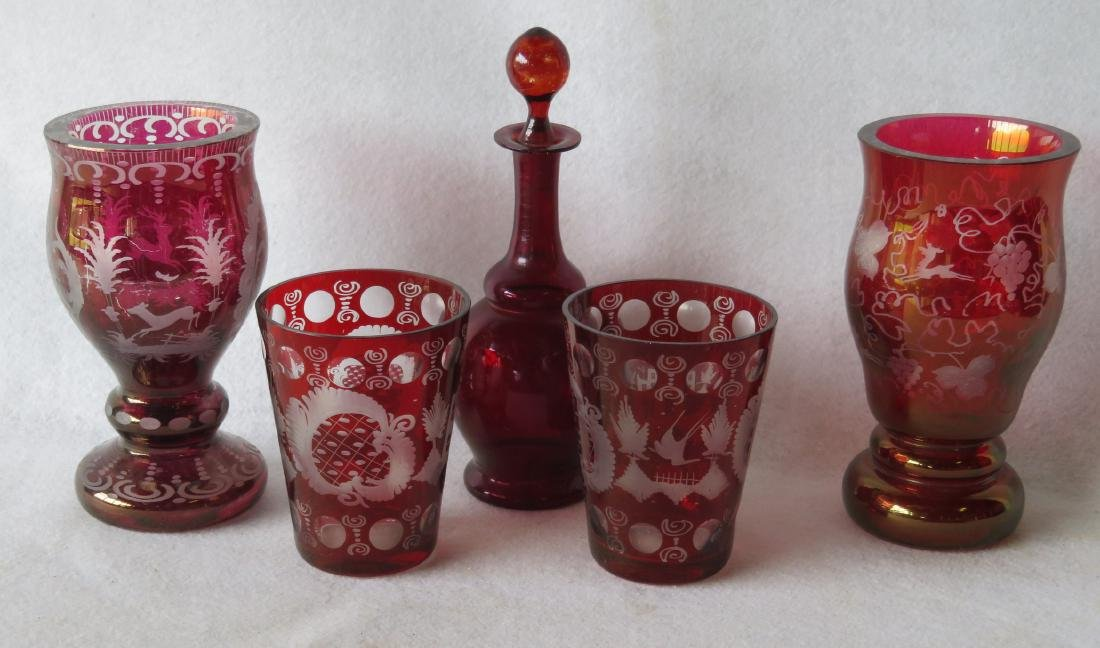 Five pieces of early glass including 4 Bohemian glass