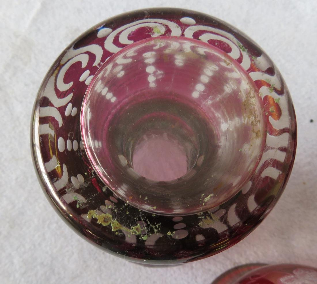 Five pieces of early glass including 4 Bohemian glass - 4