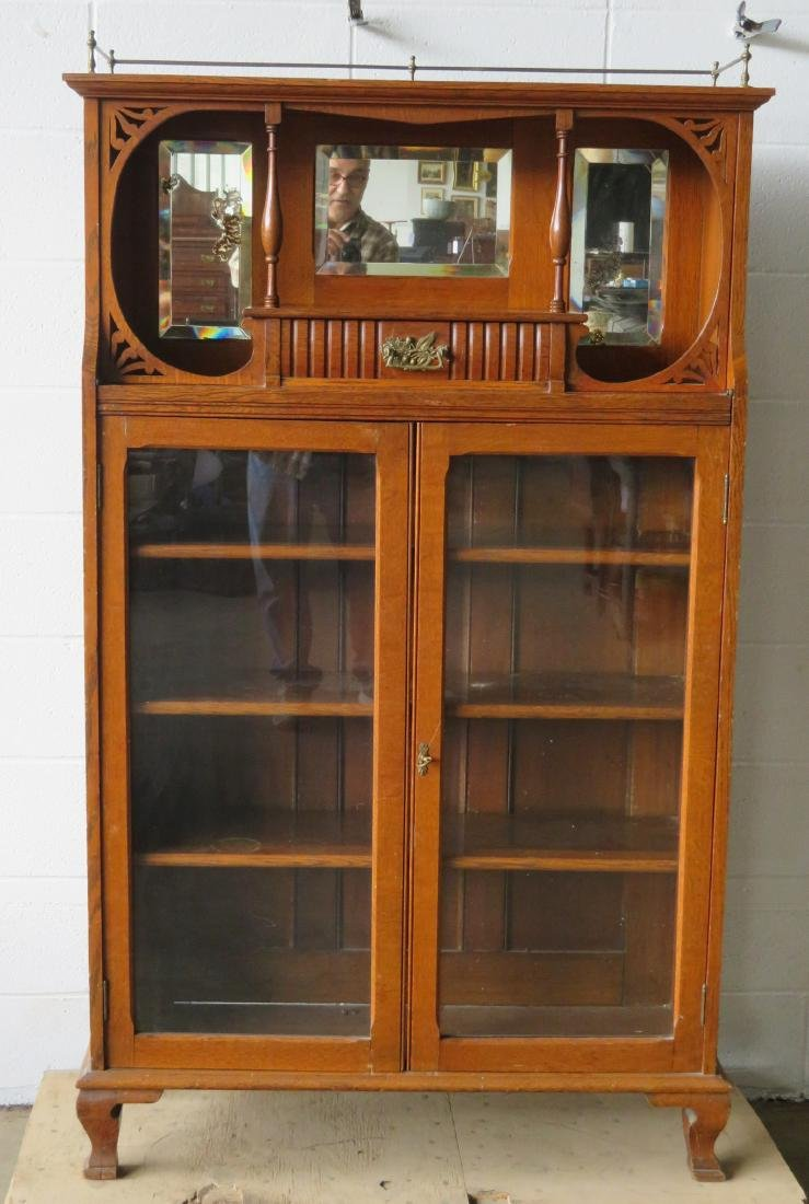 Oak 2 door bookcase with étagère top with drawer and