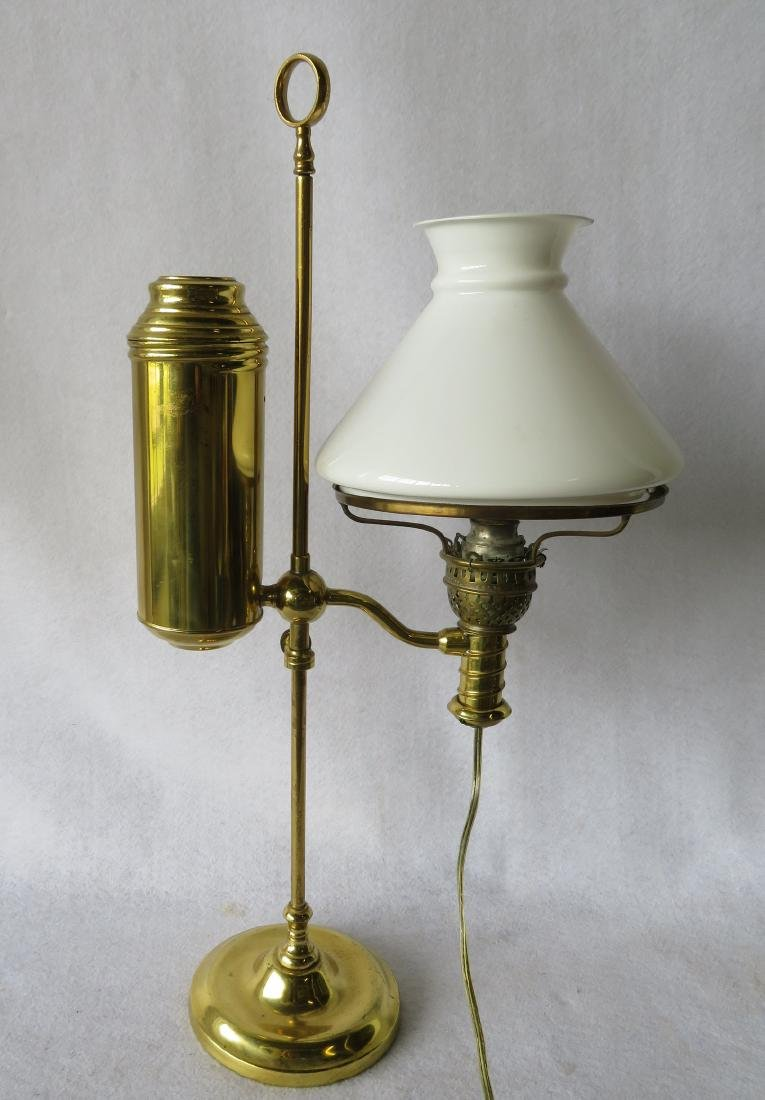 Burnished brass Victorian era student lamp with