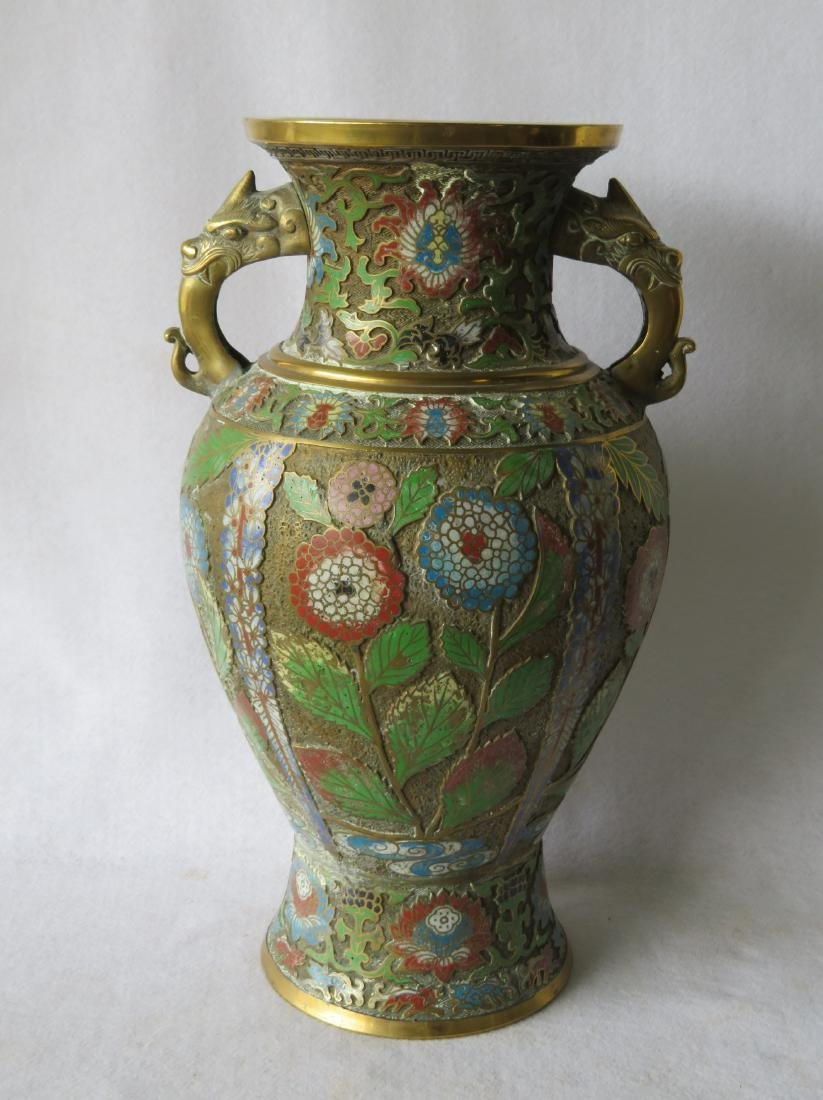 Beautiful cloisonne vase decorated with flowers having