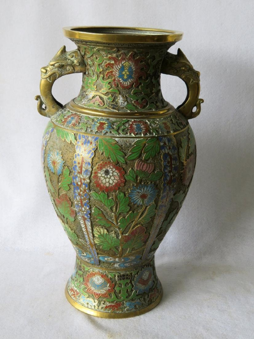 Beautiful cloisonne vase decorated with flowers having - 5
