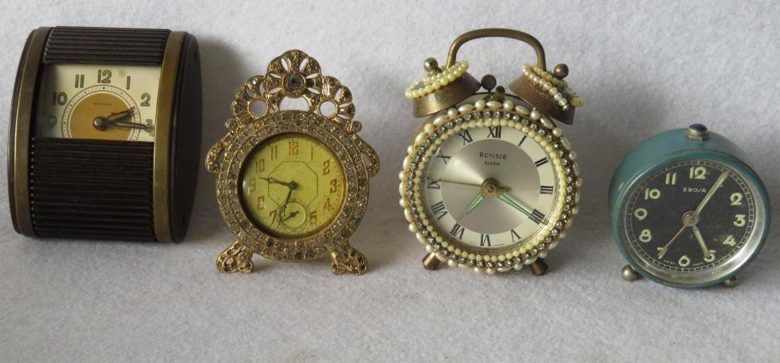 Grouping of 10 dresser and traveling clocks including 8 - 7