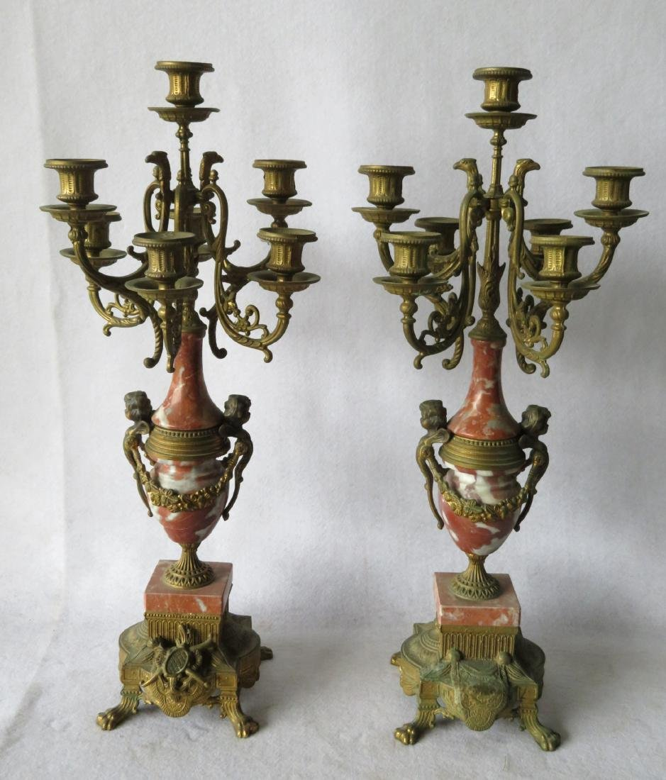 Pair of ornate French candelabras each with 7 candle