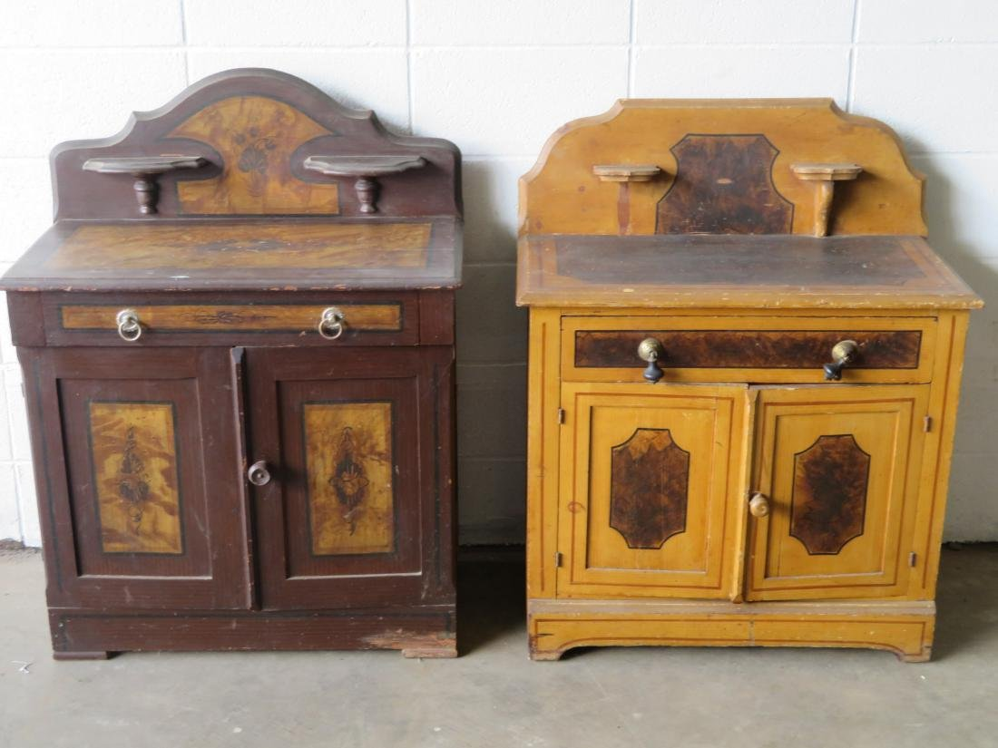 Two cottage pine washstands with backsplashes and