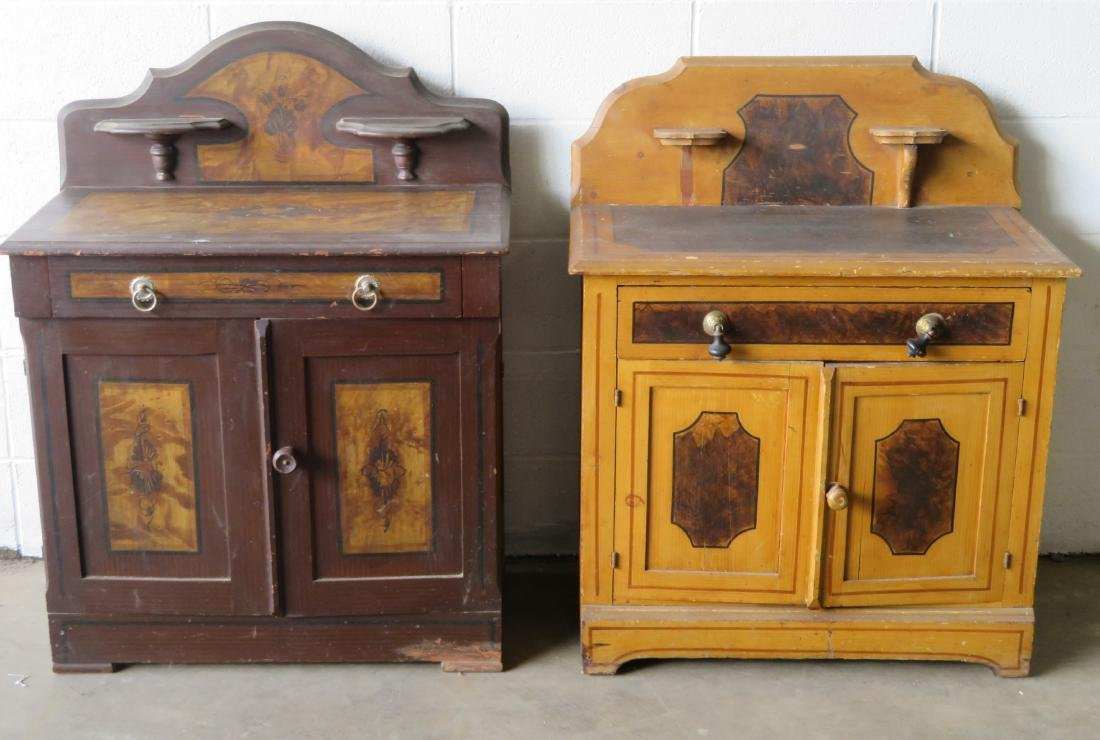 Two cottage pine washstands with backsplashes and - 2
