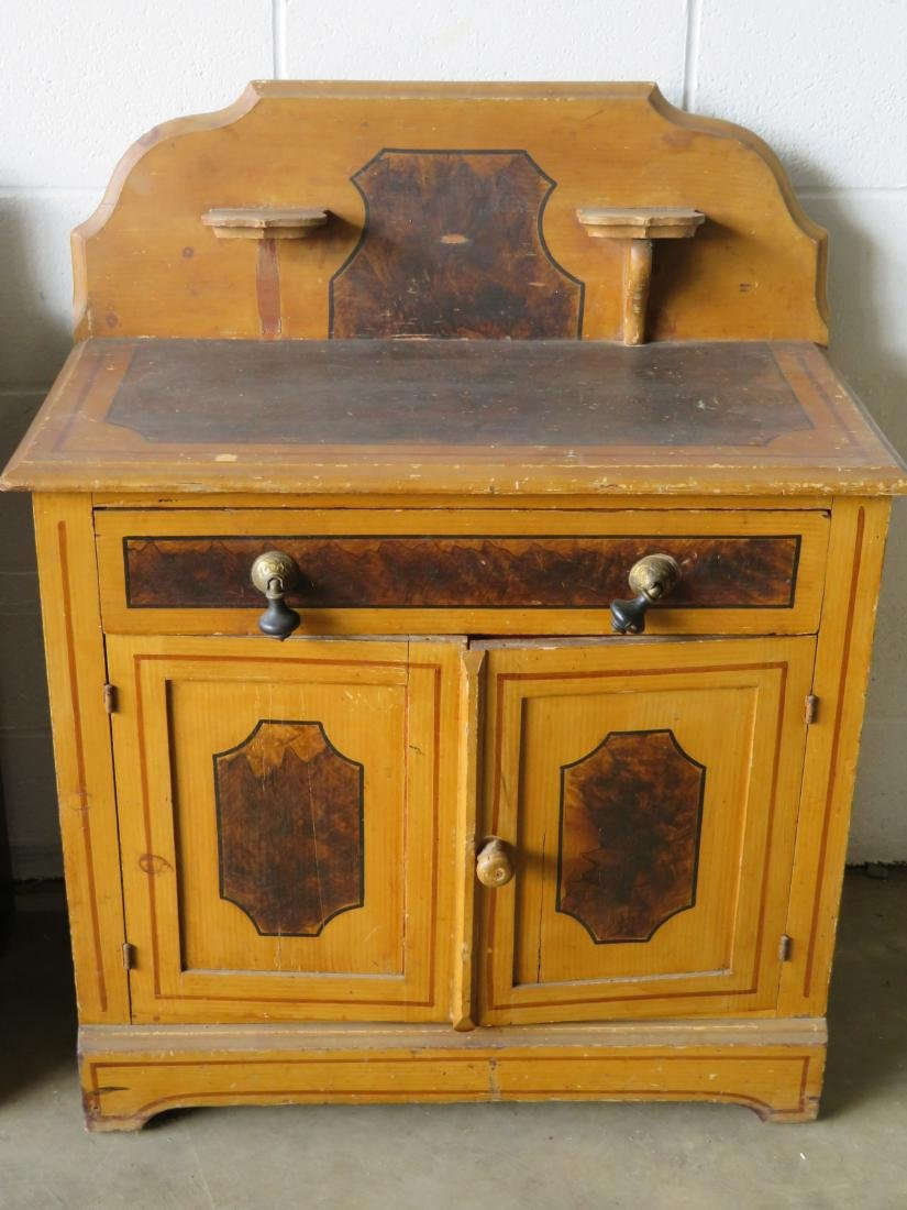 Two cottage pine washstands with backsplashes and - 4