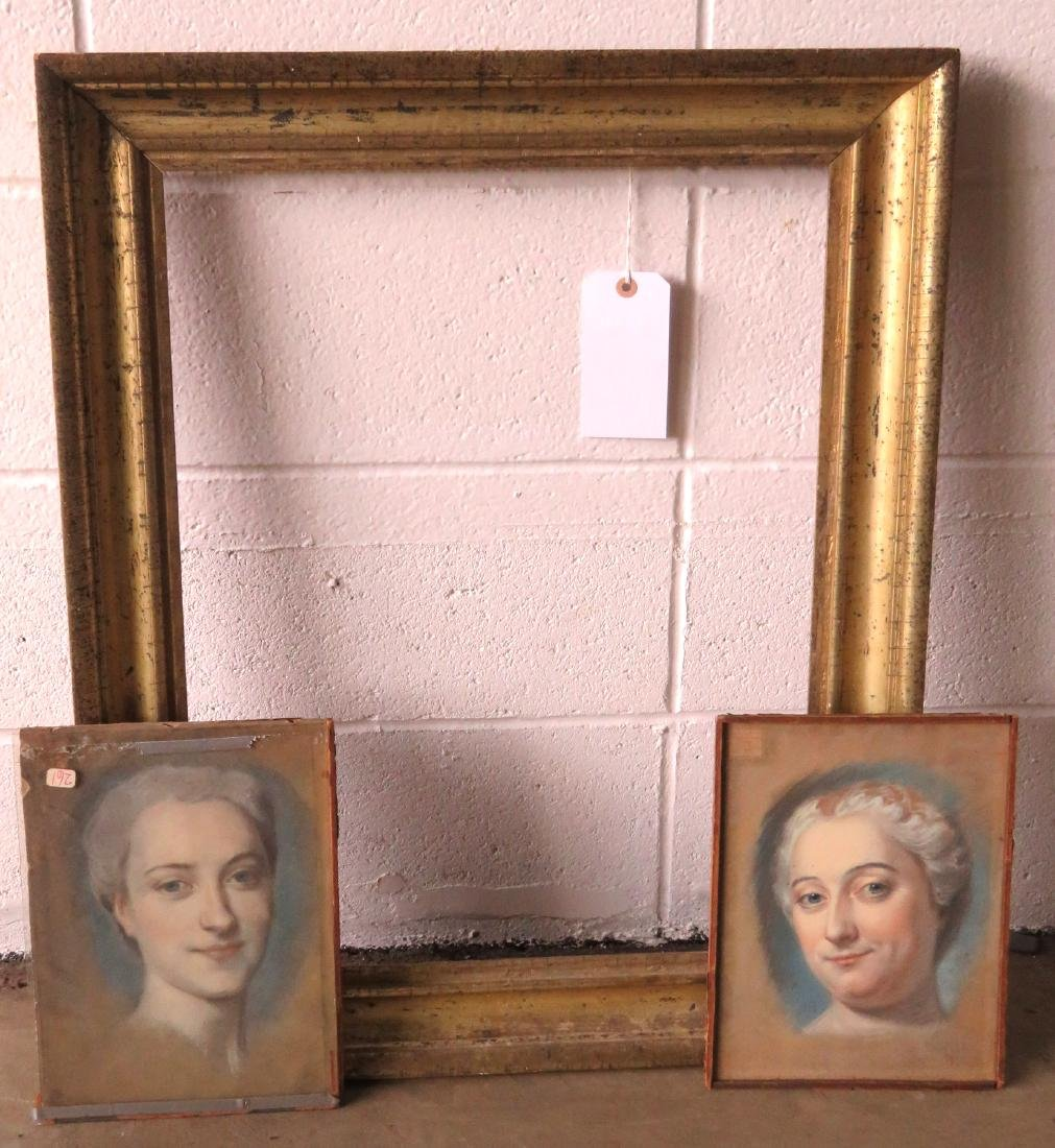 Two pastel portraits of French women, probably late