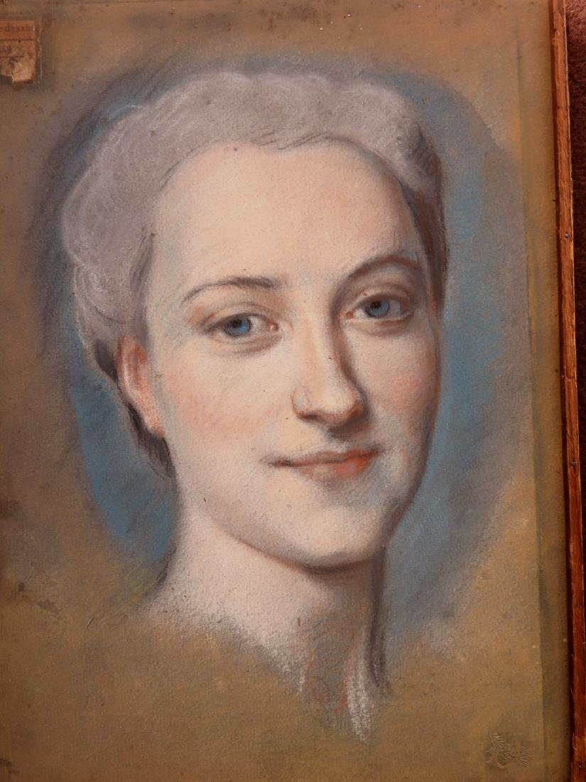 Two pastel portraits of French women, probably late - 3