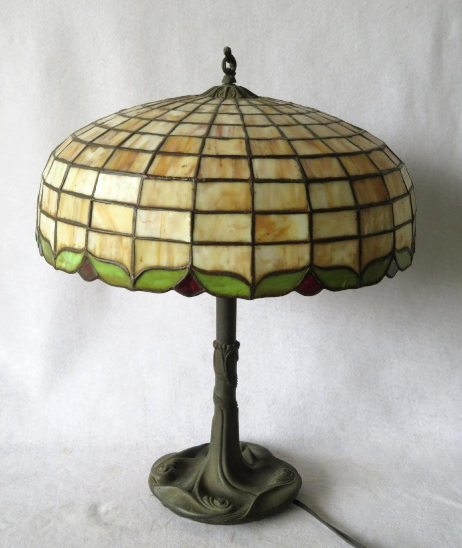 Art Nouveau table lamp with tiled geometric pattern