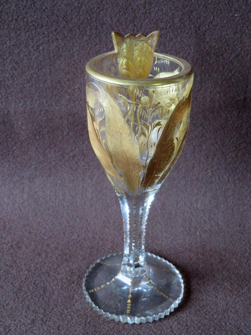 Two ornate cut crystal wine glass in original gold - 2