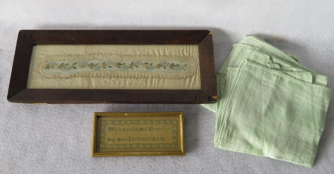 Two 19th century textiles including miniature framed
