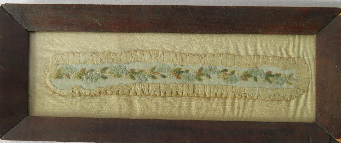 Two 19th century textiles including miniature framed - 3