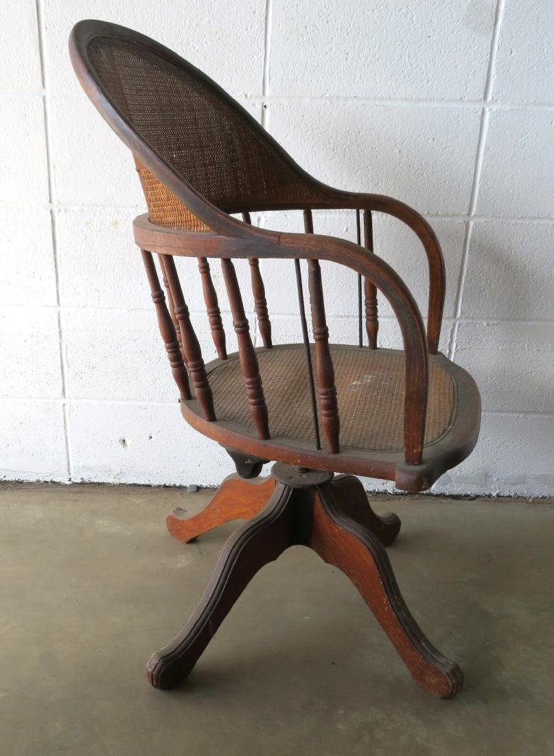 Two walnut Victorian office chairs with cane seats and - 5