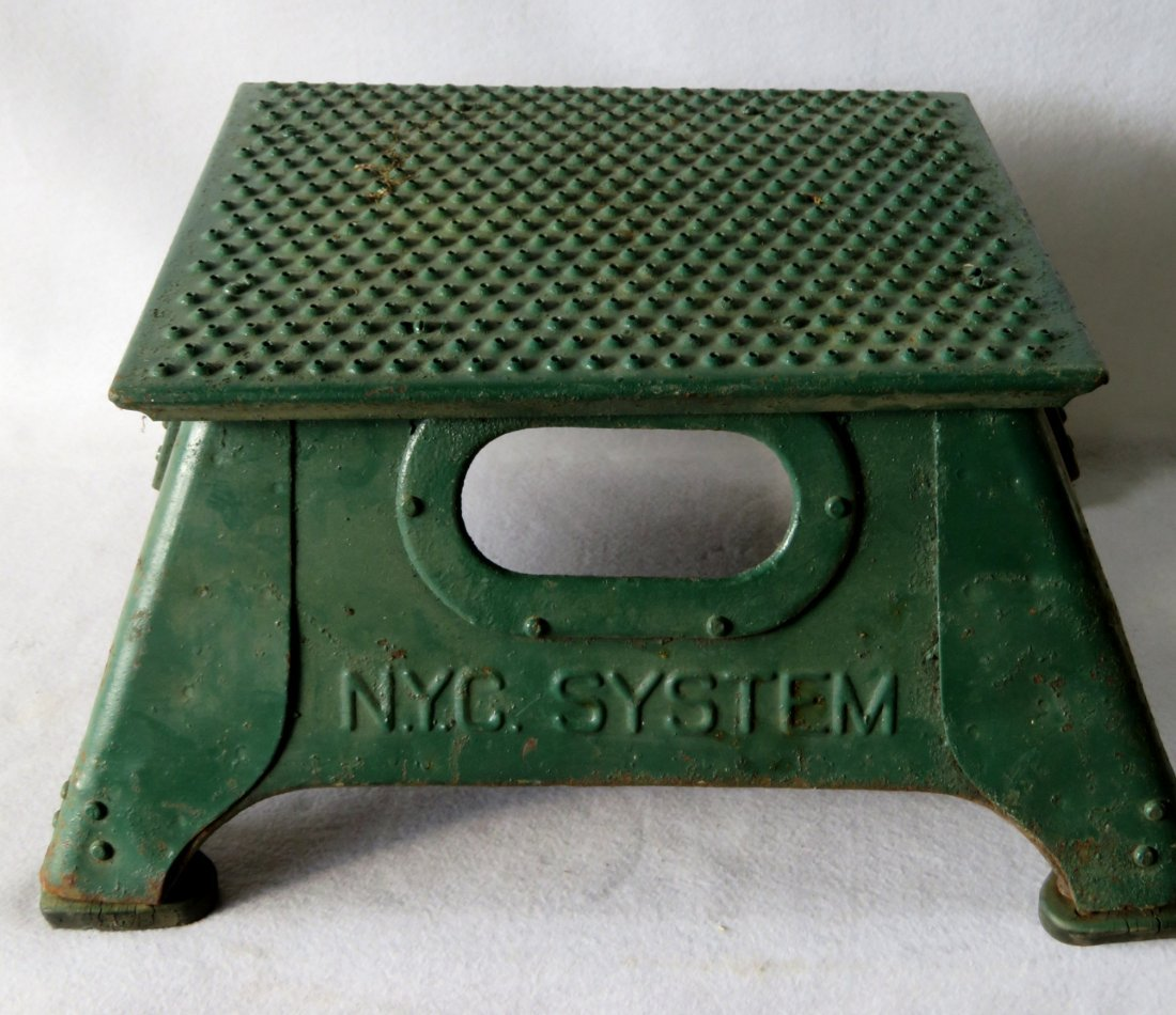 NYC Systems conductor's steel step stool in old green