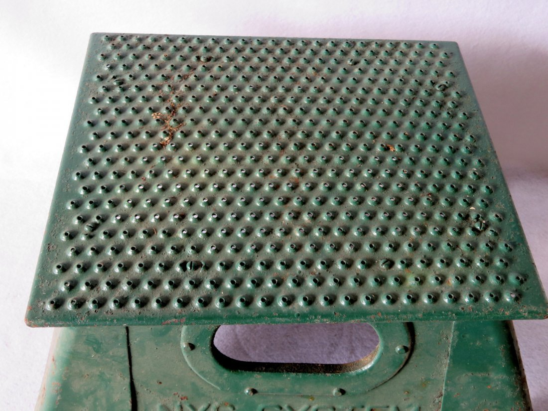 NYC Systems conductor's steel step stool in old green - 2
