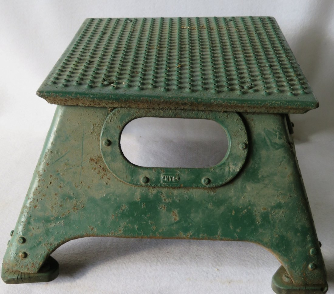 NYC Systems conductor's steel step stool in old green - 3