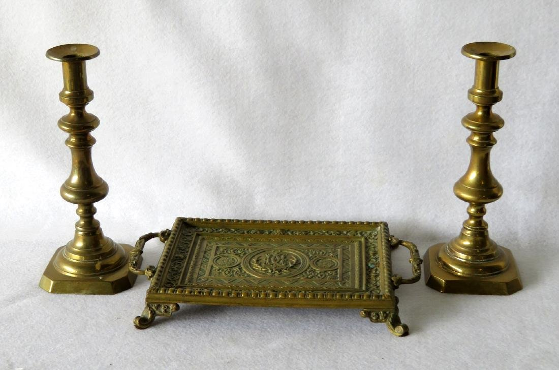 Ornate bronze footed tray with handles on each end -