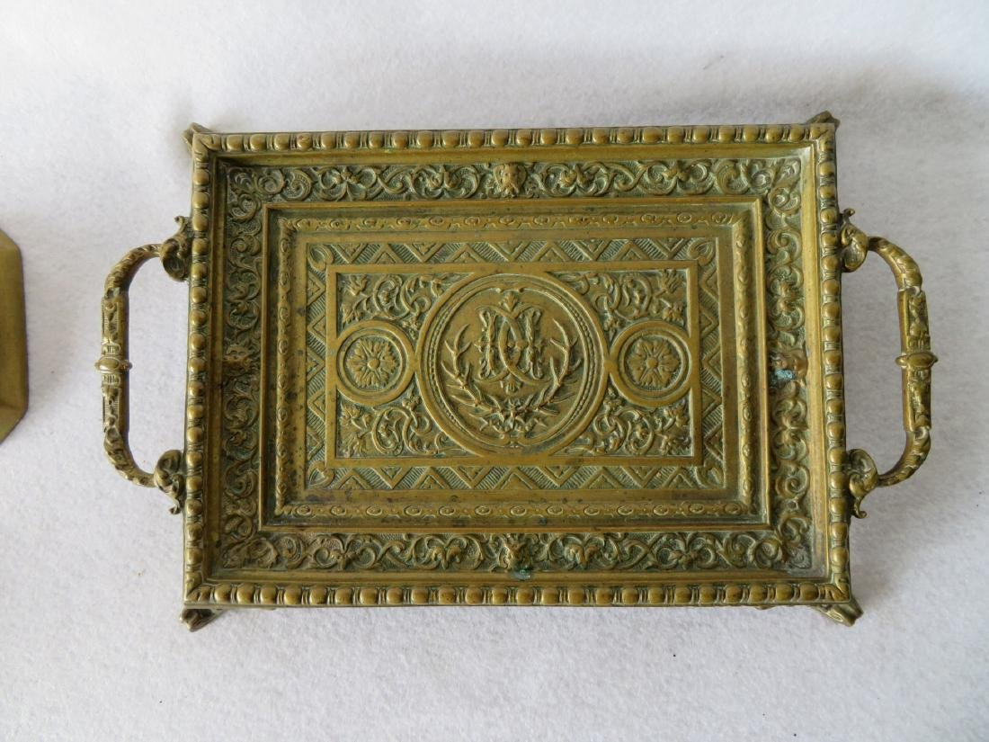 Ornate bronze footed tray with handles on each end - - 2