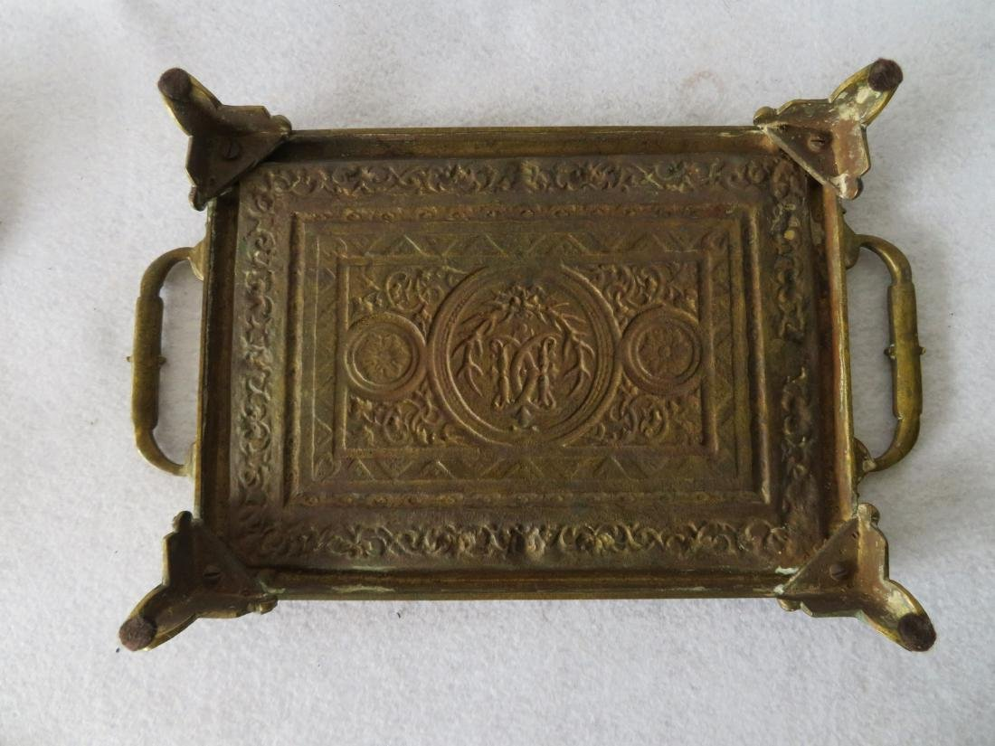 Ornate bronze footed tray with handles on each end - - 3