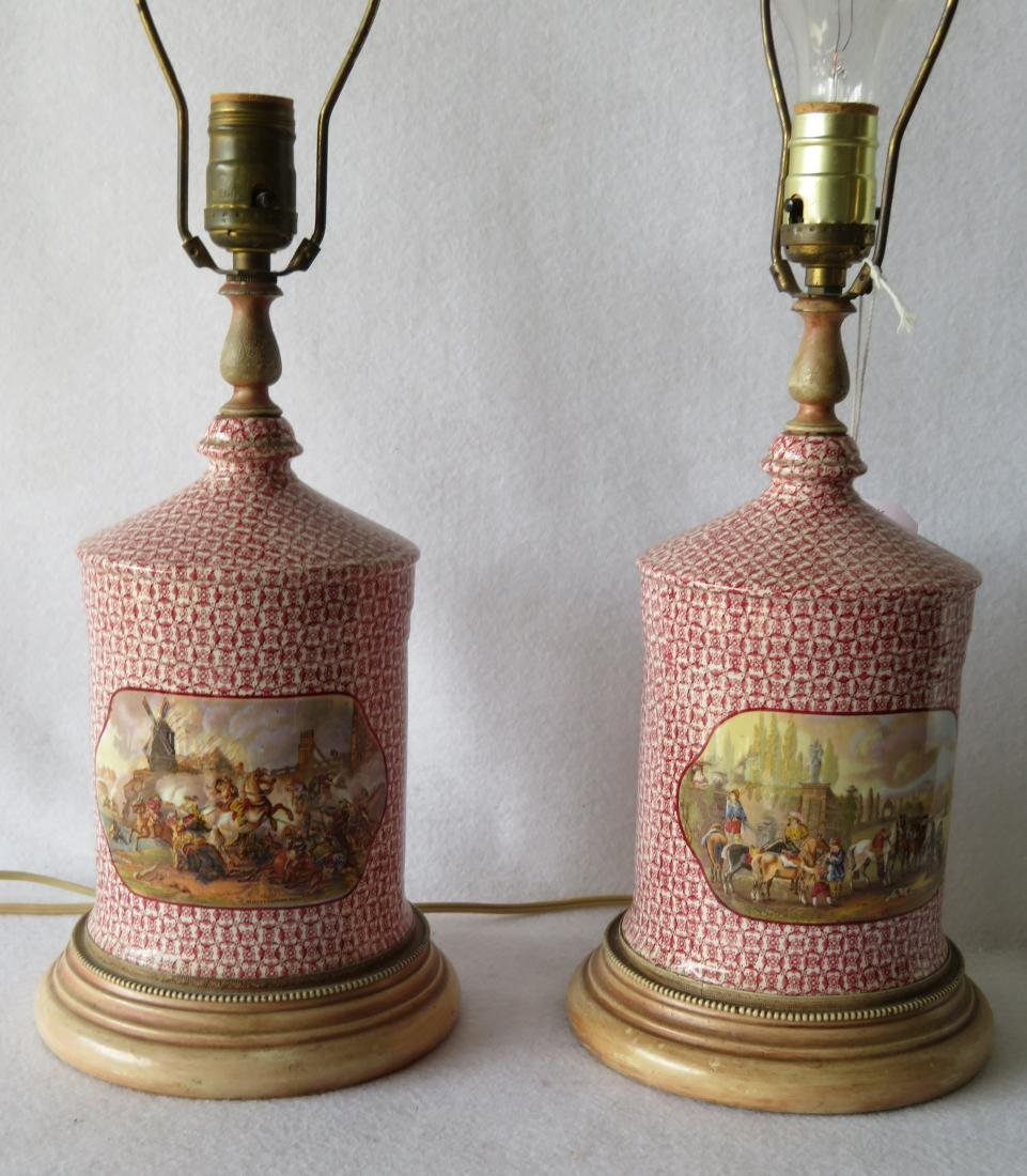 Pair of Pratware style porcelain table lamps with