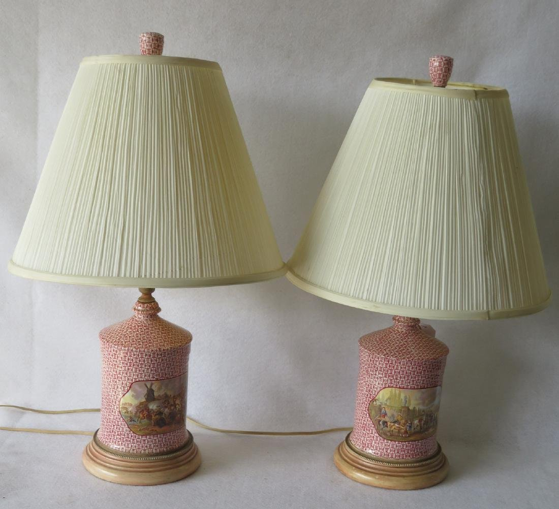 Pair of Pratware style porcelain table lamps with - 4