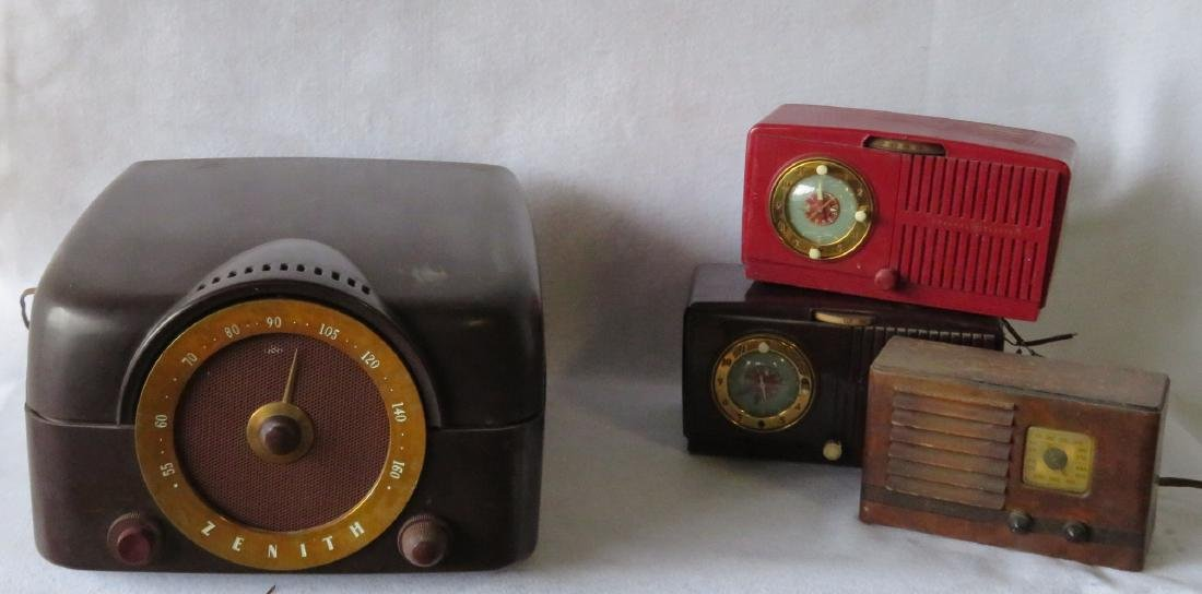 Four old radios including a Zenith radio/record player