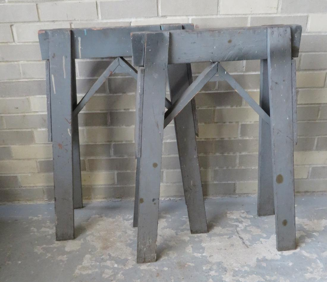 Two wooden work horses in original gray paint - very