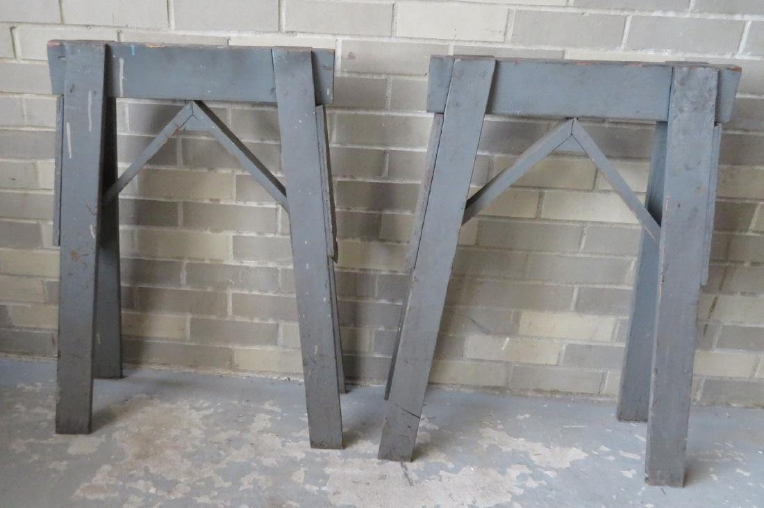 Two wooden work horses in original gray paint - very - 2