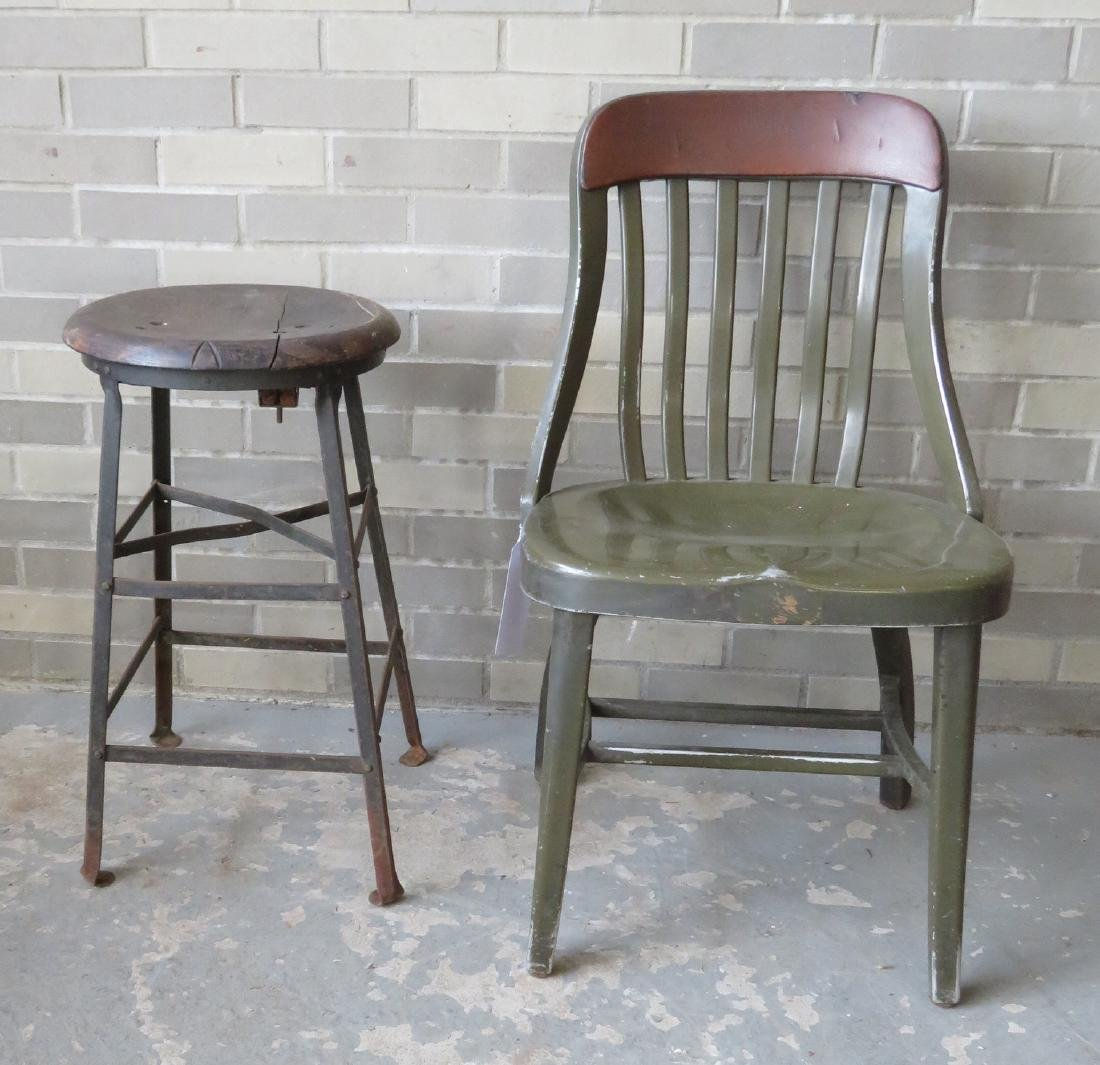 Two industrial furniture pieces, mid century, including