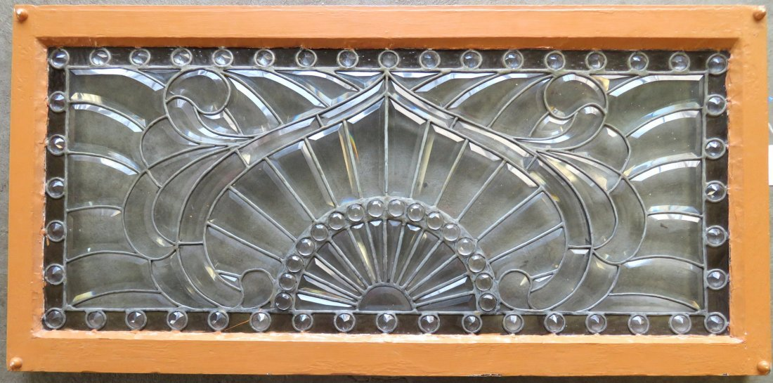 Arts and Crafts leaded and beveled glass window