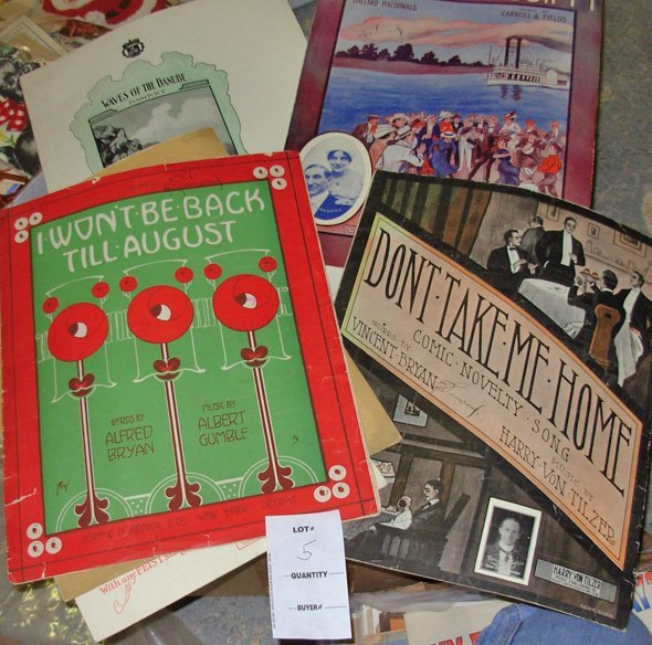 5: Large lot Vintage Sheet Music, 350+ Sheets