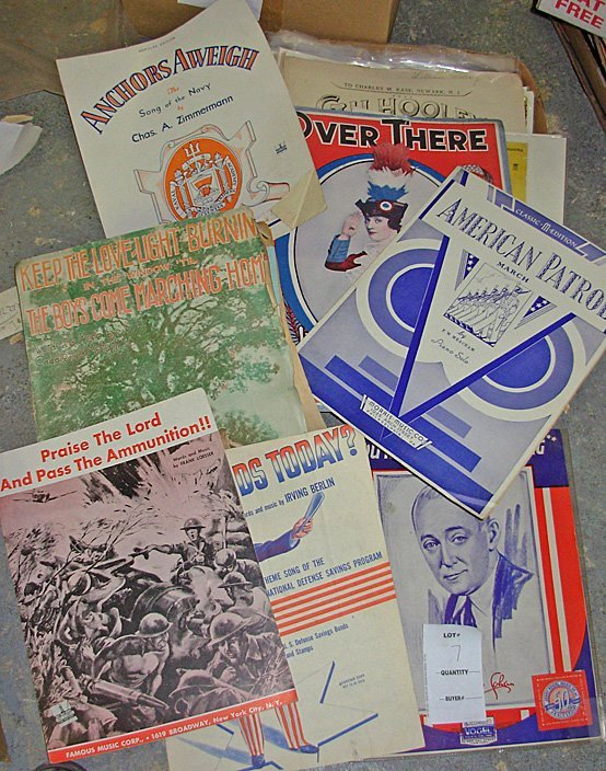 7: Lot of Vintage Patriotic Sheet Music, 49 Sheets
