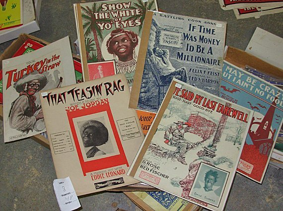 8: Lot of Vintage Black Sheet Music, 48 Sheets